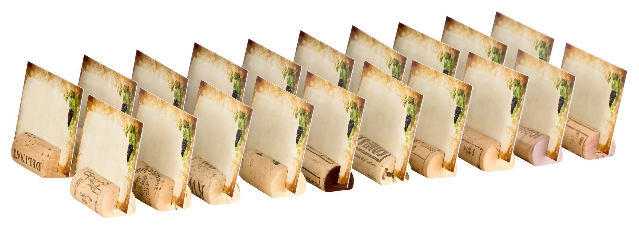 Tischkarten aus Korken für Platzverteilung bei Feierlichkeiten