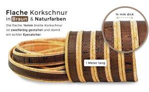 Flache Korkschnur braun/naturfarben (10 mm)