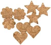 Anhaengerset aus Kork mit Sternen, Herzen und Blumen