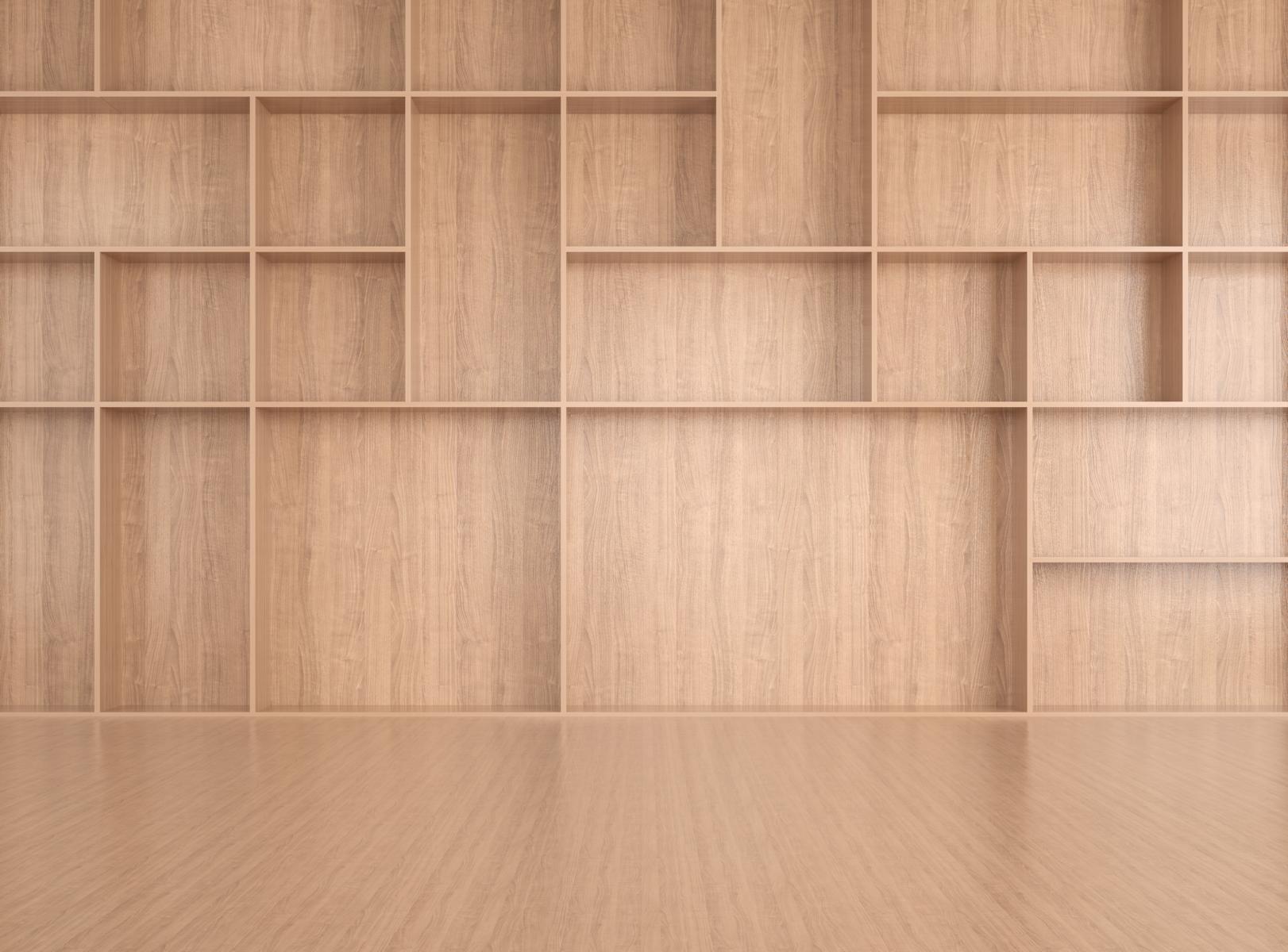 Leerer Raum mit leerem Regal