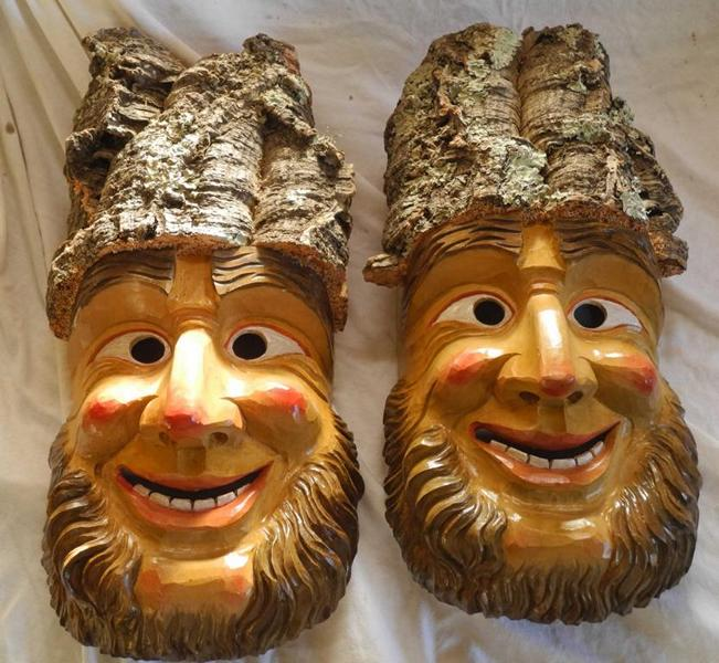 Fastnachts-Maske aus Korkrinde
