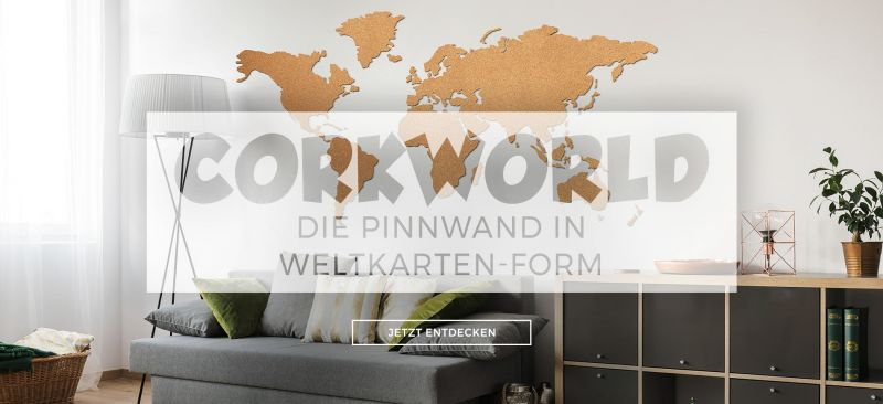 Die Pinnwand in Weltkarten-Form