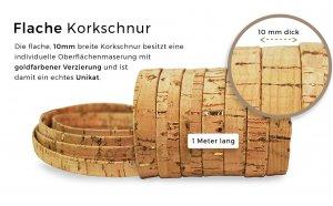 Flache Korkschnur gold (10 mm)